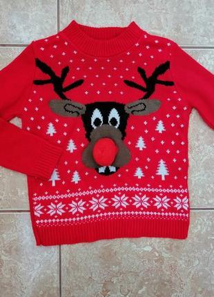 Стильный красивый новогодний свитер нарядный свитерок гольф гольфик