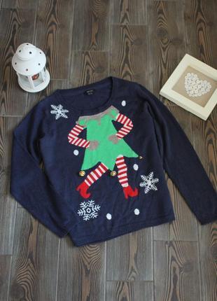 Вязаный новогодний свитер с рождественским принтом1 фото