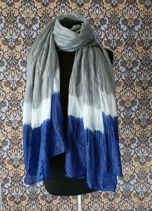 Шелковый воздушный длинный женский шарф 100 % шелк