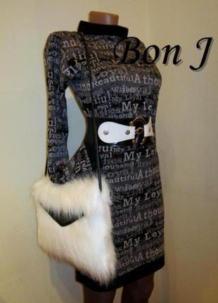 Платье-гольф в принт буквы трикотаж на меху,  размер м, новое