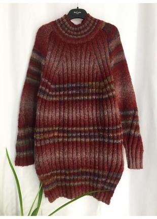Длинный свитер туника под горло стойка ворот шерсть / хлопок бордо с полосами