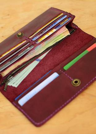 4d4acae4542e ... Кожа. ручная работа. кожаный фиолетовый женский кошелек, портмоне,  клатч. марсала3 фото ...
