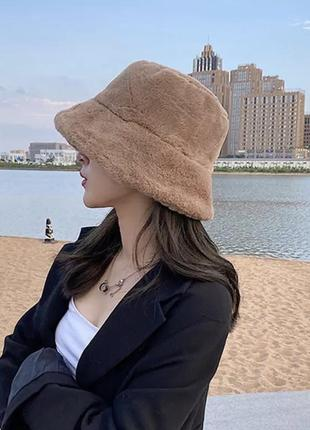 Эко мех панама искусственный мех стильная шапка зима