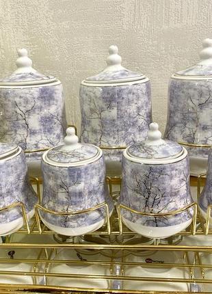 Набор для сыпучих из 7 предметов, в очень красивом дизайне, посуда