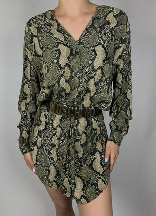 Платье рубашка туника с змеиным принтом от h&m