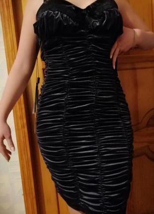 Велюровое шикарное платье хс с