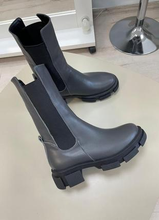 Ботинки кожаные на резинке