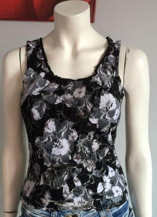 #розвантажуюсь heine кружевной черно - серебристый топ , блуза