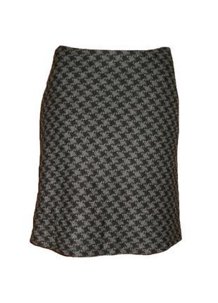 Полушерстяная юбка mexx, расклешенная  юбка принт ниже колена размер 10 наш 44