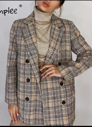 Клетчатый осенне-зимний  женский пиджак от simplee