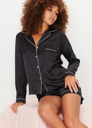 Пижама сатиновая чёрная шорты + кофта prettylittlething