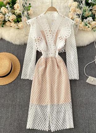 Кружевное платье миди, молочное платье-футляр, нарядное вязаное платье ришелье
