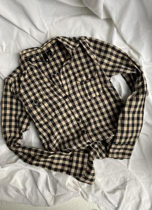 Хлопковая рубашка в клетку h&m с v-образным вырезом p.xs-s