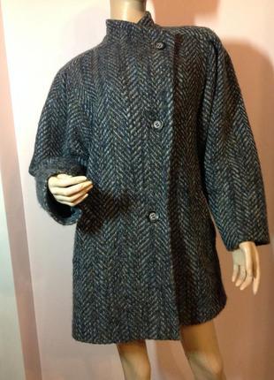 Тёплое стильное короткое пальто в ёлочку /l- xl/  brend modell  шерсть 100%