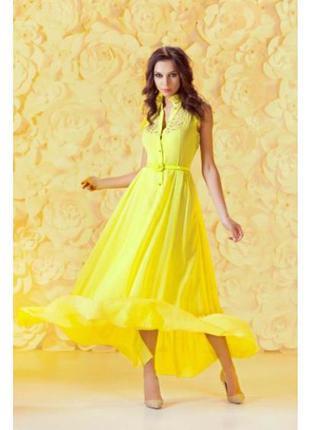 Летнее платье от andre tana желтое длинное платье размер s