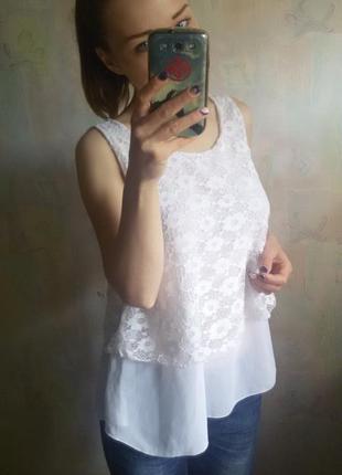 Красивенная белоснежная блуза гипюр