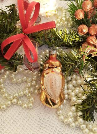 Дед мороз золотой елочная игрушка ссср советский стеклянный винтаж
