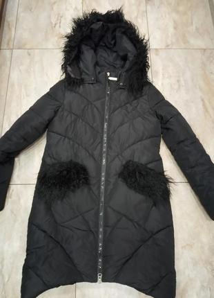 Куртка удлиненная пальто с отделкой из ламы еврозима/демисезон