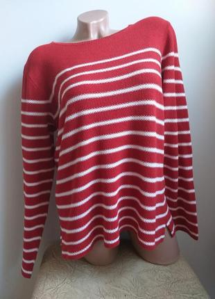 Пуловер в полоску. лонгслив. джемпер. туника. красный, белый.