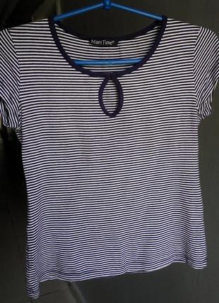 Классный топ(футболка) mari time в полоску, с декольте, вырез капелька на груди.