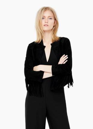 Стильная замшевая куртка- блейзер от mango 44-48р. суперкачество! бахрома