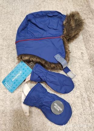 Зимняя шапка ушанка на 6-18 месяцев