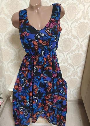 Красивое шифоновае платье, яркий принт