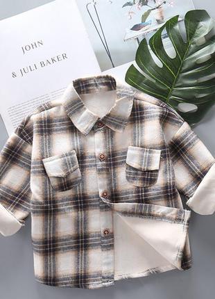 Тёплая рубашка на плюше