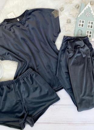 Плюшевая велюровая пижама тройка футболка шорты и штаны, костюм для дома