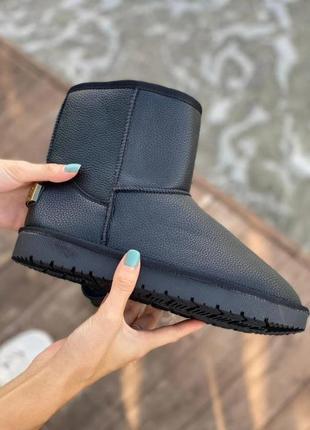 Кожаные угги ботинки