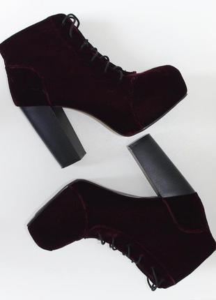 H&m divided ботильоны германия ботинки сапоги бархатные велюр бордовые