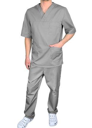 Костюм хирурга медицинский мужской eva trade р44-62, серый