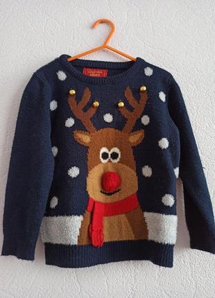 Свитер детский новогодний с оленем c колокольчиками