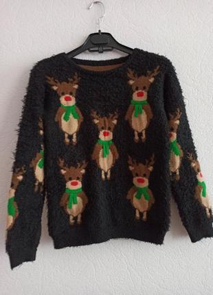 Свитер детский новогодний с оленями