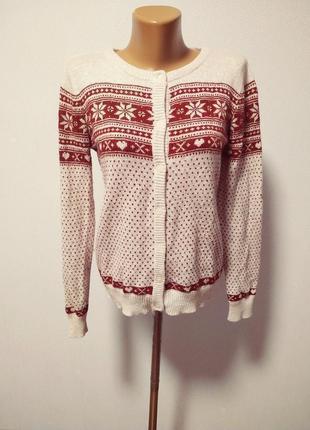 Новогодний свитер кардиган зимние праздничные орнаменты / большая распродажа!