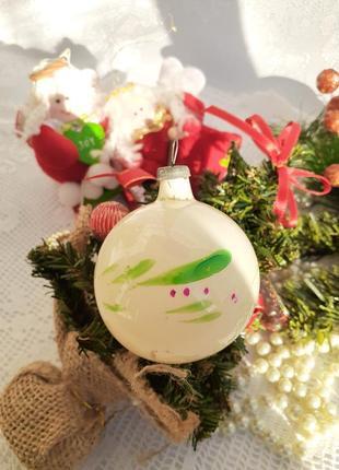 Шар ссср елочная игрушка стеклянный с холодной эмалью роспись