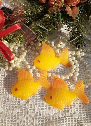 Золотые рыбки набор целлулоидные елочные игрушки ссср советские комплект лот