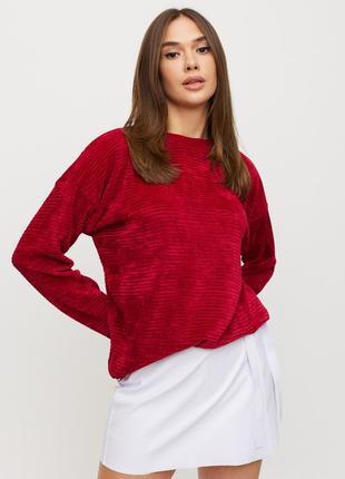 Трикотажный теплый красный женский свитер