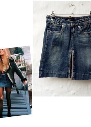 Красивая синяя джинсовая юбка с клином, кристалами 💎 заклепками killah ❤️
