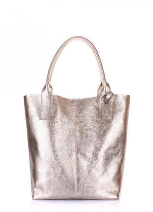 Золотая кожаная сумка poolparty, кожа 100 %