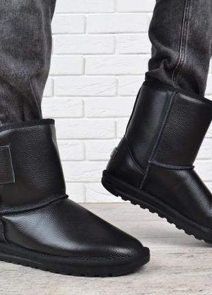 Черные кожаные угги на липучке