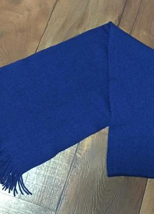Шарф шерстяной синий женский мужской тёплый зимний