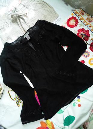 Шикарная блуза из чёрного шёлка