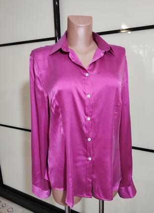 Малиновая шелковая рубашка блуза daniel & mayer италия р. xl xxl