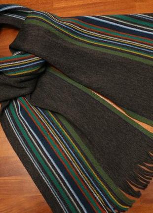 Шерстяной шарф темно-серого цвета с цветными полосками от linea (германия)