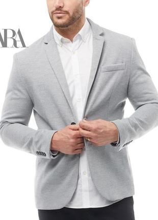Zara man casual hooded blazer xl slim fit светло-серый, новый