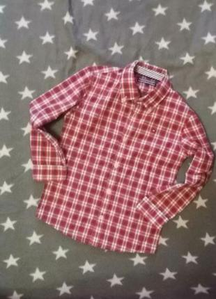 Красная рубашка в клеточку tommy hilfiger