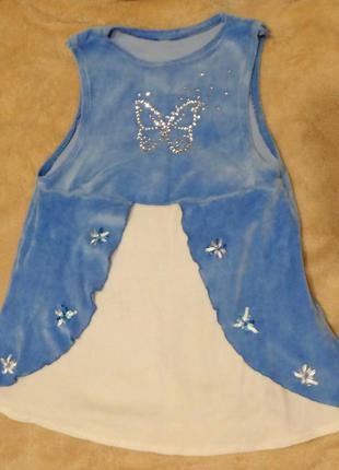 Красивый велюровый сарафан для девочки. велюровое платьице без рукава