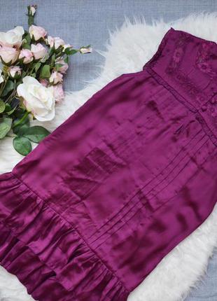 Шелковое платье с кружевными вставками