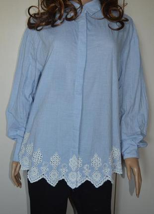 Рубашка/блуза/кружева/хлопок. оверсайз.h&m